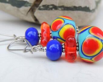 Sassy Handmade Lampwork Bead Dangle Earrings
