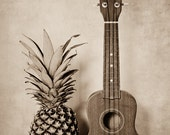 Still Life Photograph, Pineapple, Ukulele Photo, Hospitality, Etsy Gifts, Sepia, Hawaiian Art, Musical Instrument, Musician Art, 8x12 Print