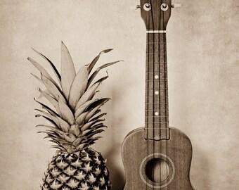Still Life Photo, Pineapple Art, Ukulele Photo, Hospitality, Music Print, Hawaiian Art, Musical Instrument, Musician Art, Still Life Art