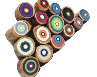Tree Ring Paintings, Circle Art, Paintings on Wood, Set of 15 Small Paintings, Wood Wall Art, Rustic Home Design, Scandinavian, Set E1