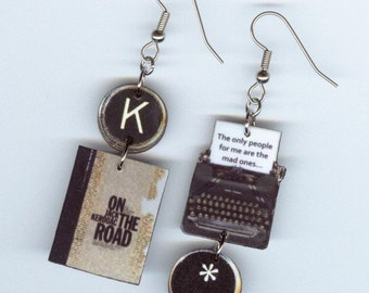 Book Cover Earrings Kerouac On the Road Typewriter key jewelry readers literary gift