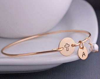 Gold Cross Bracelet, Custom Cross Jewelry, Baptism Gift, Confirmation Jewelry, First Communion Gift