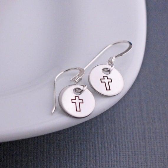 Cross Earrings, Short Earrings, Simple Earrings, Christian Earrings,  Christian Jewelry