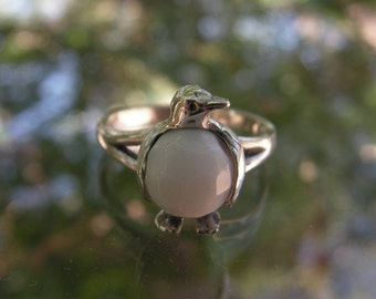 Penguin Ring Sterling Silver With White Jade