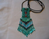 Native American Style  beaded amulet bag in greens