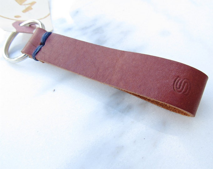 Clearance Sale: **READY TO SHIP** Initial Stitch Leather Keychain, 'S'.
