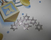 Star Of David Hebrew Charms Silver Tone Supplies on Etsy x 6