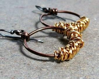 Mixed Metal Earrings Sterling Silver Earrings Copper Hoop Earrings Brass Wire Wrap Earrings Oxidized Earrings