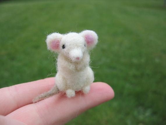 Needle Felted Miniature White Mouse