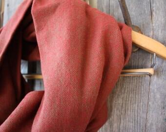 Rust Herringbone Flannel Infinity Scarf