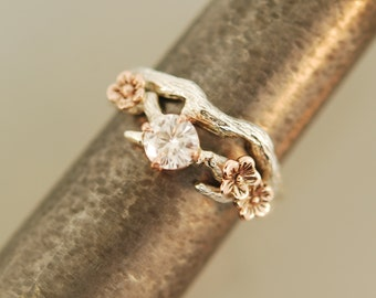 Cherry Blossom Branch,twig ring,branch ring,alternative engagement ring,wedding ring, gold twig ring,