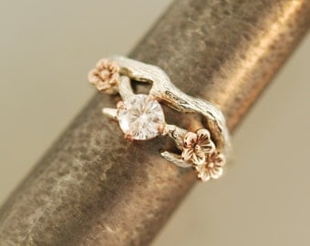 For Julia Cherry Blossom Branch,twig ring,branch ring,alternative engagement ring,wedding ring, gold twig ring,