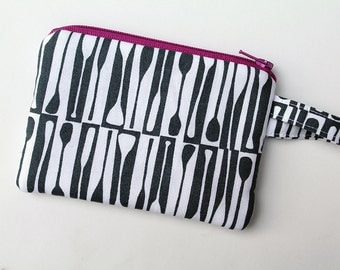 Zipper pouch, Gray change purse, Pocket wallet, Padded, Screen printed fabric, Thin wallet, Coin purse, Earbud case, credit card, minimalist