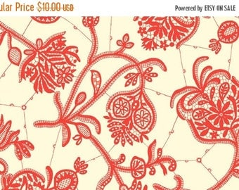 SALE Amy Butler Lark Collection Souvenir Ivory Red Floral Cotton Fabric by the yard from Shereesalchemy