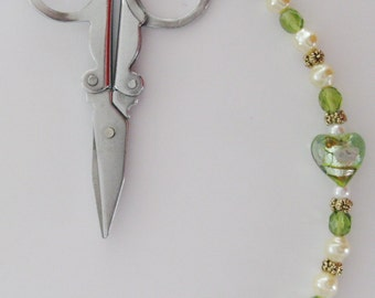 "Scissor Fob -Glass Lampwork Heart Bead, Olivine Czech Crystal, Cream Fresh Water Pearls, and Pewter - 5 1/2"" Long - Fob 9"