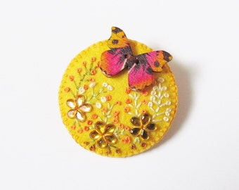 Felt Brooch - RED ADMIRAL - Embroidered Flowers With Butterfly - Accessory - Pin - Lovely Gift Idea