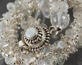 RESERVED -  Moonstone, Rock Crysral Quartz, Keshi Pearl Bracelet