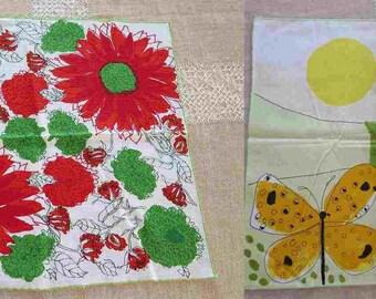 2 Vintage VERA Neumann Cotton Floral Ladybug Napkins