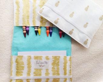 Crayon Wallet // Pineapple Aqua and Gold