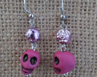 Pink Frida Skull and Rose Earrings
