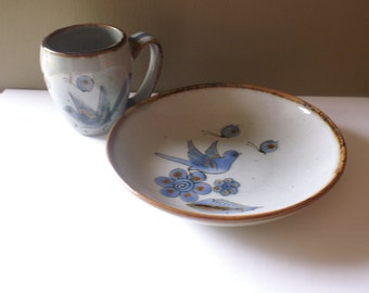 Ken Edwards El Palomar Mexico Pottery Tonala Blue Bird Bowl & Mug - Collectible Mexican Art Dinnerware