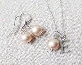 Swarovski Powder Almond Pearl Personalized Initial Charm Silver Platinum Dangling Earrings Necklace Bridal Jewelry Set Bridesmaids Gifts