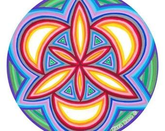 Cosmic Circle, Portal of Life, Bohemian, Sacred Geometry, Glass decor, Window Cling, No adhesive Sticker, Meditation, EcoFriendly, Spiritual