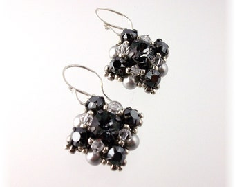 Basic Black Earrings, Jeweled Drop Earrings, Charcoal Earrings, Black Weddings, Black Attire Jewelry, Dangle Earrings
