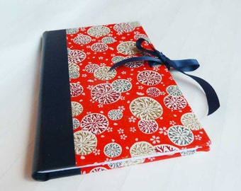 Handbound Journal featuring red Japanese chiyogami covers