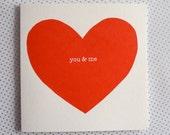 "Big Heart ""you & me"" Valentine card - pepper red"