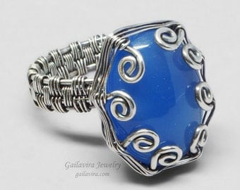 Blue Agate and Sterling Silver Wire Wrapped Ring