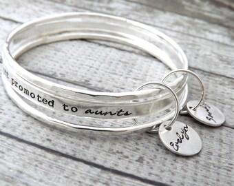 personalized bangle-bangle bracelet- stacked bangles- personalized stacking bangles- the best sisters get promoted to aunts-bracelet-gift