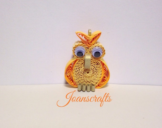 Quilling, Owl Ornament, Yellow gold, Magnet