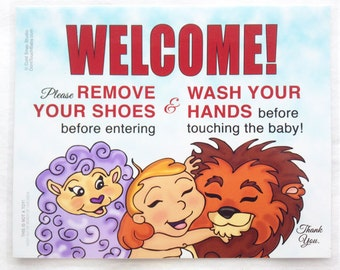 "8"" x 10"" Remove Your Shoes and Wash Your Hands Welcome Sign for New Baby Visitors - Peace Baby with Lamb and Lion"