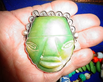 RESERVED for Ellie Antique Jade  Brooch with Silver AND  Markings on the back of this Wonderful Jade Budda Face