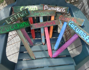 Simply Wonderful and Fun Hand Painted Garden Signs~Markers that will make your Garden POP Herbs~Flowers~Vegetables