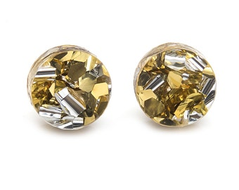Silver and Gold Maxi Glitter Round Post Earrings