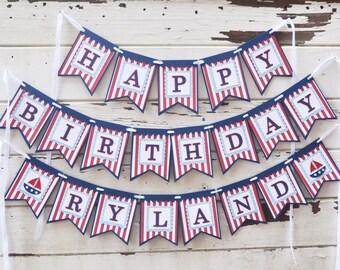 Nautical Happy Birthday Banner with Name- Boy 1st Birthday