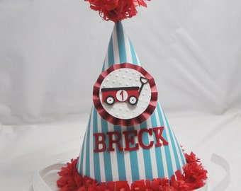 Little Red Wagon 1st Birthday Party Hat- Personalized- Radio Flyer