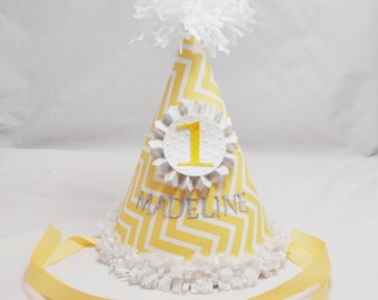 Yellow 1st Birthday Party Hat Girl- Personalized