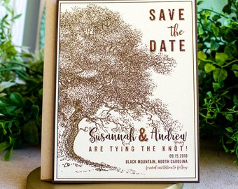 Oak and Acorn Save the Date Cards - woodland wedding - rustic wedding - garden wedding - oak tree save the date - autumn wedding - monotone