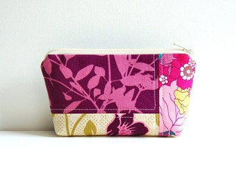 Small Cosmetic Case, Zipper Pouch, Makeup Bag, Women and Teens, Patchwork Joel Dewberry Fabrics