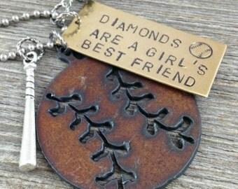 Diamonds are a Girls Best Friend - Baseball Necklace Softball Necklace Sports Necklace Baseball Jewelry Softball Jewelry Sports Jewelry