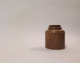 Stoneware Cork Jar ~ Lidded Stoneware Jug ~ Stoneware Lidded Jar ~ Corked Jar ~ Corked Jug ~ Brown Stoneware