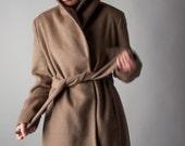 CALVIN KLEIN wool coat / minimalist coat / vintage 80s wool coat / s / 924o