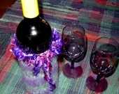 Vineyard Wine Bottle Cozy ~ Felted Wool ~ Handmade