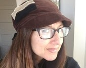 Patchwork Fray Reversible Hat Brown Black Tan