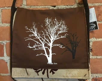 Sycamore and Walnut Tree Messenger Bag Brown 12 x 12