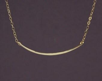 Celebrity Inspired, Gold Bar Necklace - Delicate Shiny Gold Filled Bar Necklace