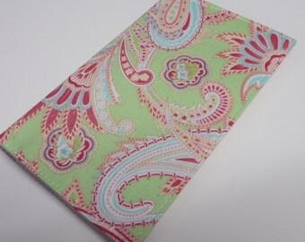 SAMPLE SALE - Checkbook Cover - Mint Green Aqua Blue Dark Pink Paisley Fabric